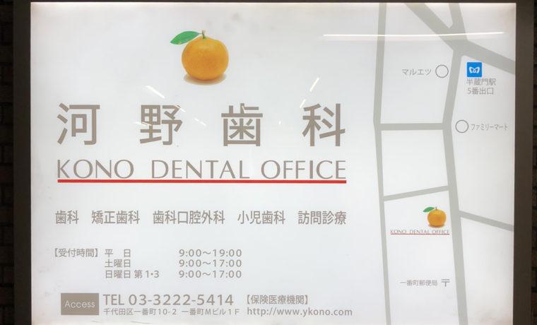 河野歯科の駅看板